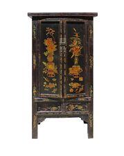 Chinese Vintage Golden Color Floral Graphic Dresser Cabinet cs4122