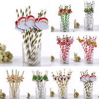 10PCS DIY Christmas Santa Stripe Paper Drinking Straws Festive Party Decoration