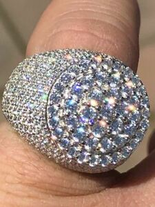 Men's Large Round Solid 925 Silver 10ct Diamond Pinky RING ICY HIP-HOP Size 7-13