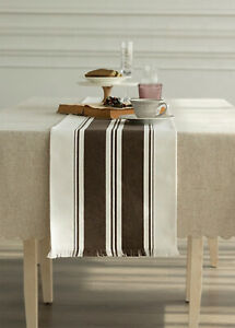 Fennco Styles Brown Stripes Fringe Canvas Cotton Table Runner in 2 Sizes