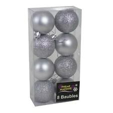 Decoración de Navidad de 8 Pack 50mm Brillo/Plain Baubles-Plata