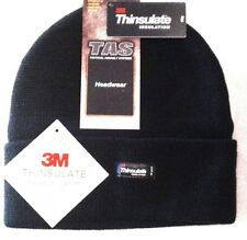 TAS 100% WOOL KNITTED BEANIE WITH 3M THINSULATE LINING BLACK