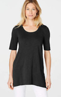 NEW J JILL XS M petite Pima Slub-knit S/S Dipped hem Tunic Knit Angled Top Black