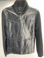 Jaclyn Smith Classic Black Leather/Knit Jacket Coat Full Zip Pockets Size M