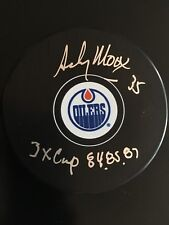 """ANDY MOOG AUTOGRAPHED OILERS PUCK """"3XCUP 84.85.87 """" INSC J.S.A. AUTHENTICATED"""