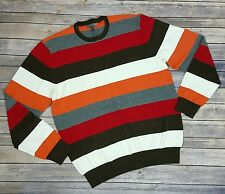 Old Navy Men's Sweater XL Long Sleeve Crew Neck Multi Color Striped Cotton Knit