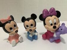 Baby Mickey Mouse Minnie Mouse Baby Bath Water Toys Figures 3pc Lot Vintage