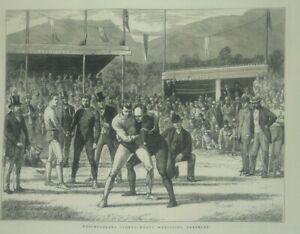 vintage prints 1876 wrestling   Westmoreland Sports-Heavy Wrestling Grasmere
