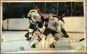 Garnet Ace Bailey Signed 1970's Bruins Hockey Poster - Died 9/11/01