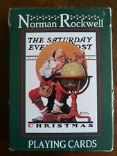 Norman Rockwell Christmas Santa World Globe Playing Card Set in Box 1996 Curtis
