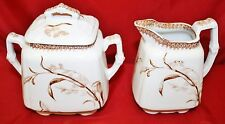 ANTIQUE T&R BOOTE SUMMER TIME  Brwn/White Transferware Ironstone CREAMER & SUGAR