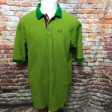 COOGI MEN'S STRIPED GREEN/YELLOW COTTON MESH POLO SHIRT SIZE XL Z06-27