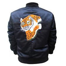 Nuevo Hombre Rocky II Tigre Logo Parche Balboa Satén Bomber Negro Elegante