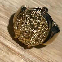Estate Goldtone Watch with Owl Face Cover Stretch Band Ring Size 6 unstretched –