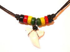 DENT DE REQUIN VERITABLE COLLIER BIJOUX NECKLACE BOB MARLEY REGGAE RASTA