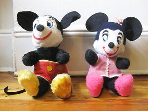lot 2X  early stuffed toy MICKEY & MINNIE MOUSE Walt Disney label 1940's doll