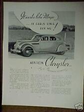 1935 Chrysler Imperials Car  Memorabilia Photo Promo Art Print Ad