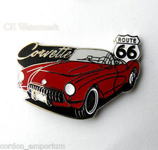 ROUTE 66 1956 CHEVROLET CORVETTE CONVERTIBLE RED USA LAPEL PIN BADGE 1 INCH