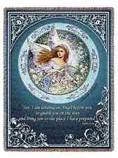 RELIGIOUS GUARDIAN ANGEL HEAVENLY MEMORIAL TAPESTRY THROW AFGHAN BLANKET 53x70
