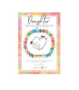 NEW JILZARA Clay Beads DAUGHTER MESSAGE BOX MULTI COLOR BEAD Petite Bracelet