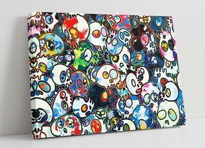 MURAKAMI SKULLS 1 CANVAS WALL ART FLOAT EFFECT/FRAME/PICTURE/POSTER PRINT- BLUE