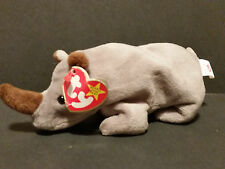 1996 TY Beanie Babies Spike the Rhino PVC Pellets Creased Tag