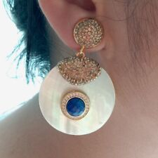 Natural Lapis White Mop Stud Earrings