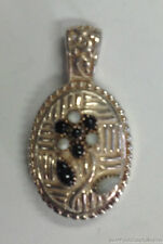 """ESTATE JEWELRY OVAL BLACK AND WHITE FLOWER STERLING SILVER PENDANT 1.5"""""""