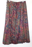 Bianca Vintage Mix Colour Pattern Pleated Skirt Blogger grunge Size 42w