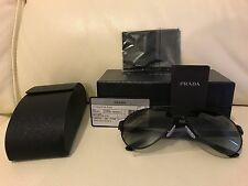 PRADA Nuovo di Zecca Aviatore cornice nera occhiali da sole SPR 59N 1BO-3M1 ** LOOK **