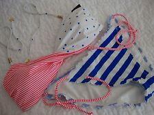 Victoria's Secret swimsuit swim set L twist halter patriotic ruffle string