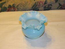 Fenton Art Glass Blue Opalescent Vase Ruffled Crimped Top