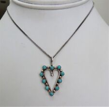 Turquoise Heart Pendant Chain Necklace Vintage Navajo Sterling Silver Blue