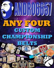 4 Custom WWE Style championship belts wrestling Action figures MATTEL SIZE
