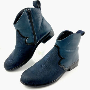 NAOT Womens Sirocco Two Tone Blue Textured Leather Boots EUR 38 US 7 - 7.5