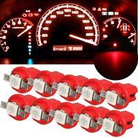 10PC T5 B8.5d 5050 1smd Car Red LED Dashboard Dash Gauge Instrument Light Bulbs