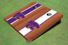 Kansas State University Wildcats Rosewood Alternating Long Stripe Custom Cornhol