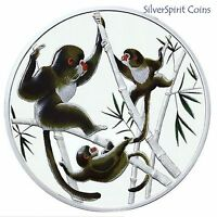 2016 YEAR OF THE MONKEY Playful in Bamboo 15.5g Silver Proof Coin