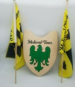 Medieval Times Official Wood Fighting Shield Knight and 2 Flags Cosplay Souvenir