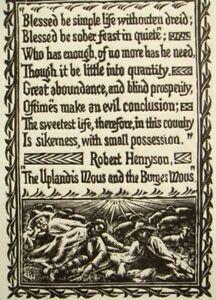 Henry Clarence Whaite signed original Robert Henryson woodcut engraving,1928