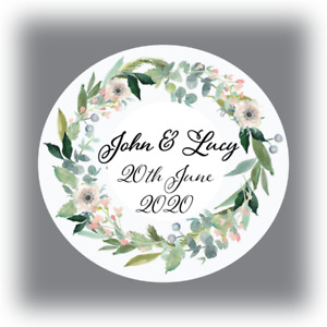 60 x Personalised SAVE THE DATE wedding stickers envelope seals names 35mm
