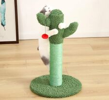Moonshuttle Green Cactus Cat Scratching Post with Red Ball for Cat & Kitten