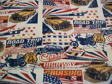 American Roadtrip Snuggle Cotton Flannel Fabric - BTY - Route 66 & Vintage Cars