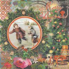 2 Serviettes en papier Noël Enfant Hiver Paper Napkins Vintage Winter Christmas