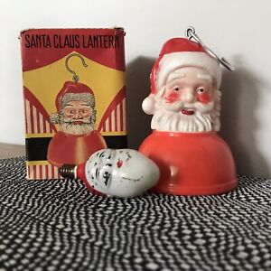 ANTIQUE VINTAGE FATHER CHRISTMAS LANTERN SANTA BULB LIGHTS