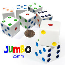 10pcs D6 25mm Large Opaque Jumbo Dice - White with Multicolor Pips, US Seller