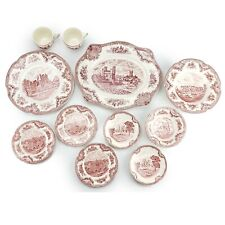 Johnson Bros Old Britain Castles Pink Dinner Platter Bread Plate Cup Saucer Bowl