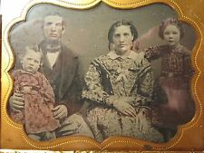 ANTIQUE AMERICAN FAMILY TINTED AMBROTYPE ONE BOY ONE GIRL GOLD EARRINGS PHOTO