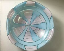 Murano Mid Century Pezzato Bowl Pink Blue With Gold