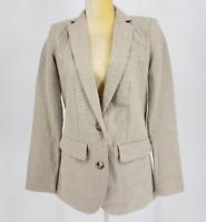 Michael Michael Kors Women's 100% Linen Longline Button Tan Career Blazer Size 4
